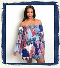 PLUS SIZE BLUE RED PAISLEY ON OFF SHOULDER TOP SHIRT TUNIC MINI DRESS 1X 2X 3X