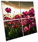 Flowers Sunset Floral MULTI CANVAS WALL ART Square Print