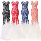 Pageant Mermaid Evening Formal Party Gown Prom Dresses Wedding Bridesmaid Dress