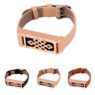 Black/Beige/Brown Leather Wristband + Rose Gold Metal Housing For Fitbit Flex