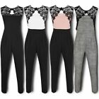 Womens Ladies Sleeveless Lace Long Jumpsuit Playsuit Trousers Suit Evening Size