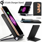 3 Coils Qi Wireless Charging Charger Stand Holder For Samsung Note 8 iPhone X 8+