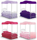 FC502 NEW FULL SIZE PRINCESS BED CANOPY FABRIC TOP COVER RUFFLED DRAPE CURTAIN