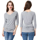 Comfy Grey Women Summer Casual 3/4 Sleeve Blouse V-Neck Shirring T-Shirt Top
