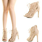 Beige Faux Suede Peep Toe Scallop Lace Up Strappy CutOut High Heel Ankle Booties