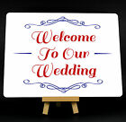 Red And Blue Welcome To Our Wedding Metal Plaque Sign