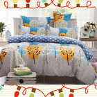 Spring Double Queen King Size Bed Set Pillowcases Quilt Duvet Cover Tree Leaves
