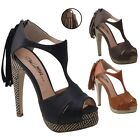New Women's T-Strap Tribal Platform Stiletto Fringe Tassel Black Brown Tan 6-11