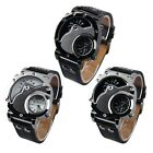Men's Military Army Dual Dials Movements Pu Leather Sports Wrist Watch