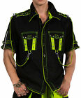 NEW DEAD THREADS BLACK NEON YELLOW SHORT SLEEVE STRAPS RAVE CYBER SHIRT S-XXL