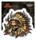"""(#134) NATIVE SKULL 5"""" x 5.25"""" sticker decal (Y221) Hot Leathers"""