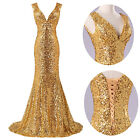 Women Sequins Wedding Bridesmaid Long Maxi Dress Evening Prom Party Ball Gown