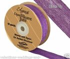 Full Roll Open Weave Jute Ribbon x 10yds - Purple - Craft Vintage Wedding