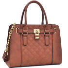 New Womens Handbags Leather Satchel Tote Bags Shoulder Bag Padlock Medium Purse