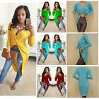 Women Crop Top Deep V-neck Long Sleeve Cross Twisted Blouse Loose T shirt Dress