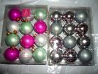 12 PACK JACLYN SMITH CHRISTMAS HOLIDAY PINK GREEN WHITE SILVER  BALL ORNAMENTS