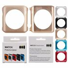 Slim Hard Metal Case Protective Button Cover Skin+Tempered Glass For Apple Watch