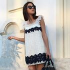 ZARA WIDE STRAP EMBROIDERED CUTWORK DRESS SIZE MEDIUM REF 0839 032