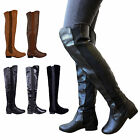LADIES WOMENS WIDE LEG CALF STRETCH OVER KNEE THIGH HIGH FLAT BOOTS SHOES SIZE