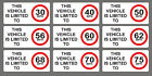2x Speed Restriction Sticker Limited To 40 50 56 60 62 68 70 75 MPH Vehicle Sign