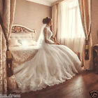 Elegant White Ivory Long Sleeve High Neck Train Wedding dresses Bridal gown