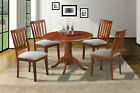 """42"""" ROUND TABLE KITCHEN DINING ROOM SET W/. 9"""" DROP LEAF IN SADDLE BROWN"""