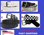 3-Row Metal Pyramid Studded Leather Belt Men' Unisex Women's Punk Rock Goth Emo