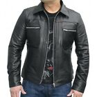 Full Sleeves Lambskin Leather Jacket For Mens Slim Fit Solid Jacket Black M-29