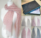 Gift Boxed Fashion Ladies Long Length Scarf Maze Pattern Red Pink Blue Brown