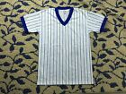 New Majestic Short Sleeve T-Shirt White Blue Striped Made in USA boys size