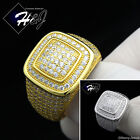 925 STERLING SILVER LAB DIAMOND GOLD/SILVER FULL ICED OUT BLING SQUARE RING*GR52
