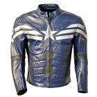 Captain America Men Motorbike Real Leather Jacket Top Quality with safty pads