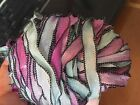 """Vintage Curly Ribbon Trim Hand Dyed 1/4"""" Rayon Black Edge 3yds Made in USA"""