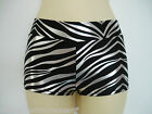 Hotpants/Shorts Zebra Black & Silver ADULTS X/S to Lge Pole Dance Roller Derby
