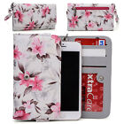 Womens Flower Pattern Wallet Case Cover for Smart Cell Phones by KroO ESMLF-7