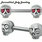 SURGICAL STEEL SKULL NIPPLE BAR WITH CRYSTAL EYES ~ CLEAR or RED ~ VARIOUS SIZES