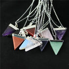 New Natural Gemstone Triangle Pointed Healing Charm Bead Silver Pendant Necklace