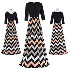 New Womens 3/4 Sleeve Wave Stripe Long Maxi Dress Evening Cocktail Party Dresses