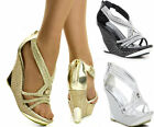 WOMENS DIAMANTE DETAIL  WEDGE HEEL PLATFORM STRAPPY PEEP TOE EVENING PARTY SHOES