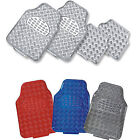 4PC UNIVERSAL METTALIC EFFECT CHECKER PLATE CAR FLOOR MATS MAT SET