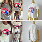Fashion Women Lips Sequin Printed Short Sleeve Loose Blouse Casual T-Shirt Top