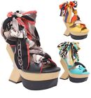 New Women's Tie Up Wooden Wedges with Silky Fabric Ankle Wrap 3 Colors 6.5 - 9