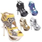 New Women's Strappy Cut Out Platform Heels w/ Ankle Strap 5 Colors Size 5.5 - 10
