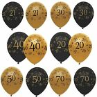 """Black And Gold Pack of 6 12"""" Birthday Age Latex Balloons Party Decorations"""