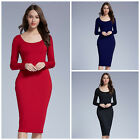 New Woman Fashion Sexy Oval Collar Package Solid Color Long Sleeve Hip Dress