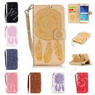 Bling Diamond Leather Case Dream Catcher Card Pocket Cover+Strap For Multi Phone