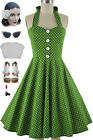 50s Style PLUS SIZE Miss Mabel LIME POLKA DOT Print Pinup HALTER Sun Dress