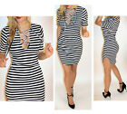 Black White Striped Sexy Lace Up Tie Top Summer Party Bodycon Ribbed Mini Dress