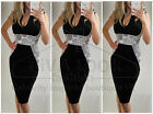 New Women black white Pencil Bodycon dress Party Sleeveless Midi size 8 Hot Sale