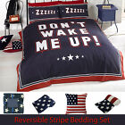Dont Wake Me Up Reversible Stripe Duvet Quilt Cover Bedding Set with Pillowcases
